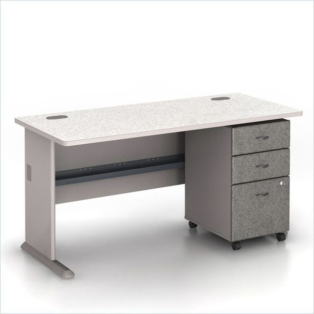 "Bush Series A 60"" Computer Desk with 3-Drawer File Cabinet in Pewter transitional-filing-cabinets-and-carts"