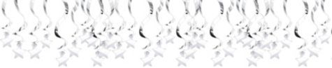 Silver Star Swirl Decorations 30ct - Party City