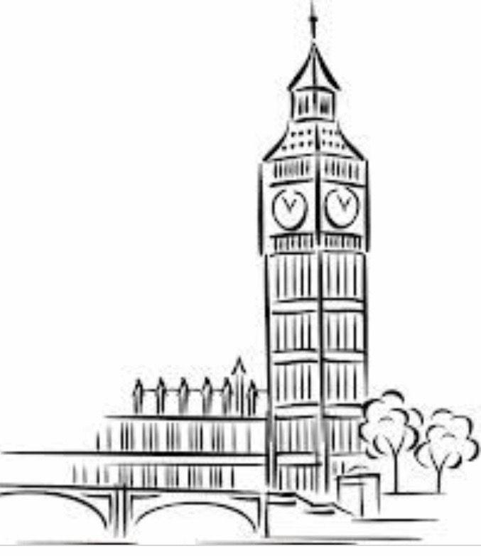 Pin De Gabriela Ortiz En Big Ben Londres Dibujos Dibujos De Edificios Arte De Pared