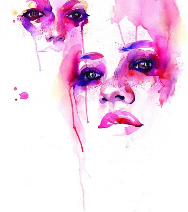 watercolour faces by marion bolognesi. i want a wall size piece for my living room. just beautiful.