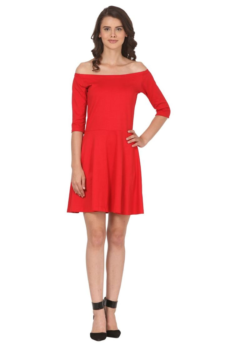 Beautiful red off shoulder plane one piece