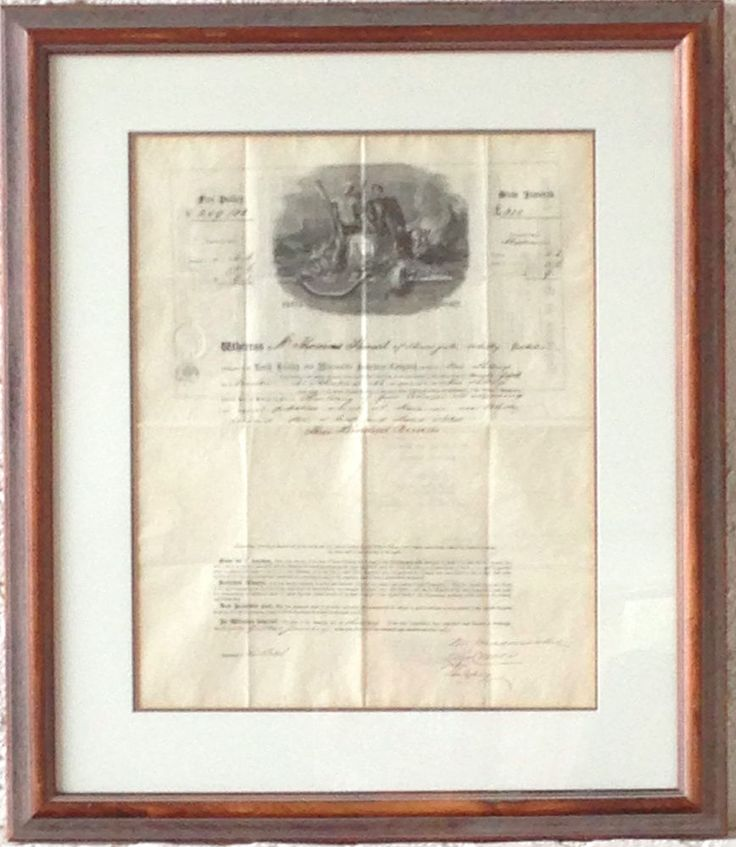 1865 North British And Mercantile Insurance Co. Scottland Fire Insurance Policy