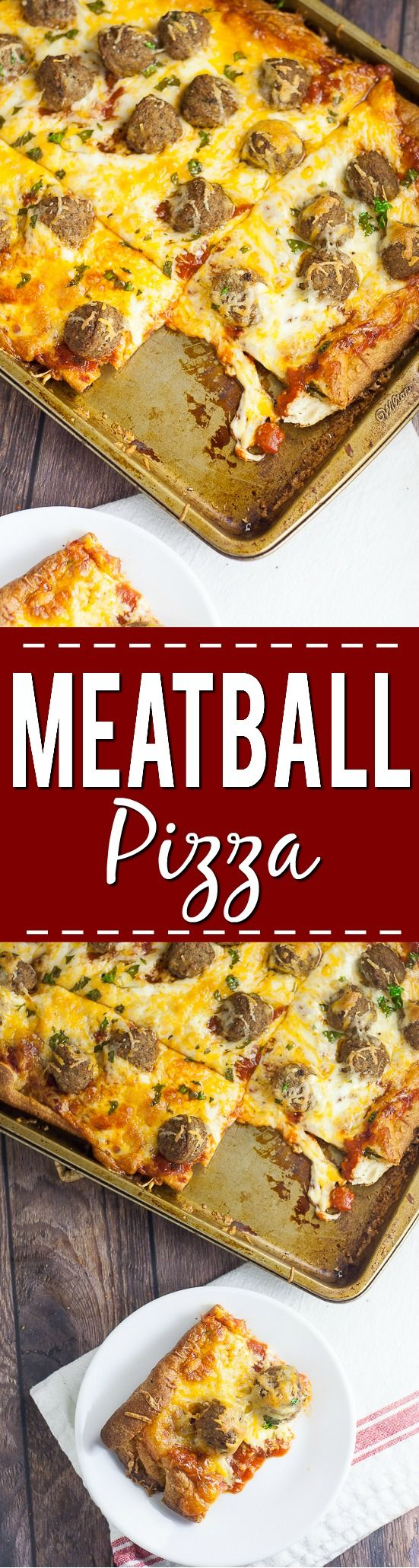 Meatball Pizza Recipe - A quick and easy recipe for Meatball Pizza that even the kids can help with! Crispy crust, gooey cheese, and Italian meatballs make the perfect family pizza night! Quick and easy family dinner recipe the kids will LOVE!