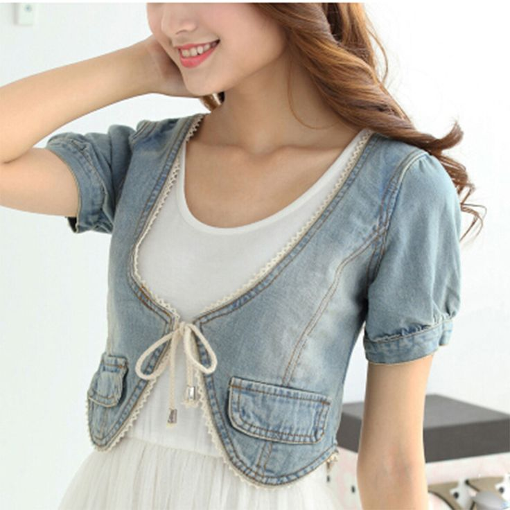 Denim Knot Tie Crop Top 2015 Summer Korea Thin 3/4 Sleeve Turn-Down Collar Cape Blouses Casual Jeans Shi