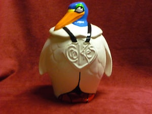 RARE Vtg Old McCoy Pottery Penguin Bird Cookie Jar Circa 1940