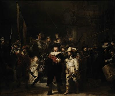 The Night Watch by Rembrandt, 1642 (officers and other civic guardsmen of district II of Amsterdam, under the command of Captain Frans Banninck Cocq and Liutenant Willem van Ruytenburch) at Rijskmuseum
