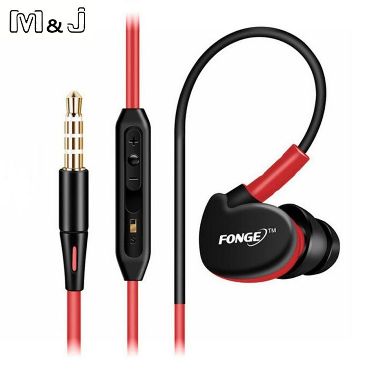 M&J S500 Sports Running Earphones With Memory Wire Waterproof IPX5 With Mic In-ear Earhook Music Headphone Mobile Stereo Bass