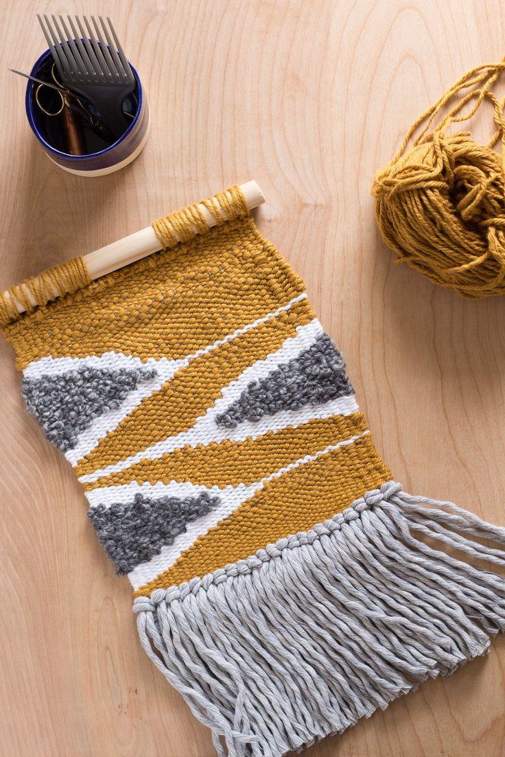Woven Wall Hanging // Modern Tapestry // Yellow Geometric Wall Weaving