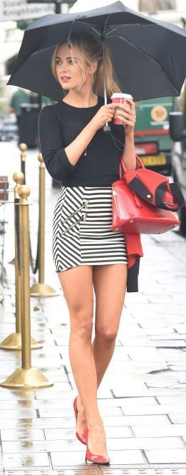 #street #style fall / black knit + striped skirt