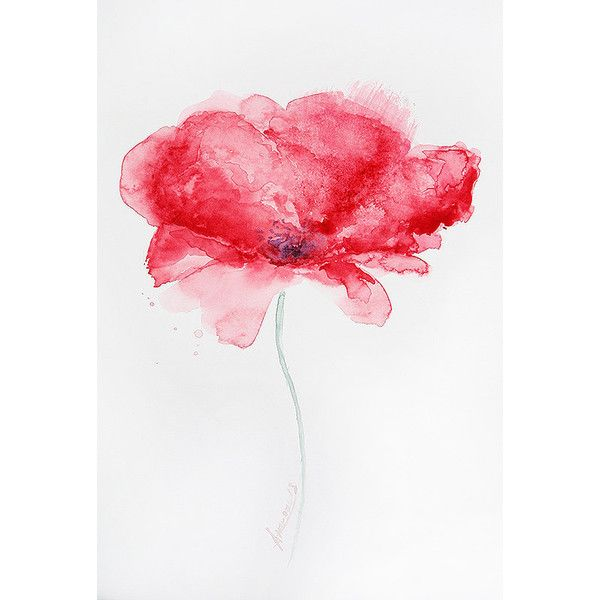 Original Watercolor Painting Abstract Flower.6x8 cali 15x20 ❤ liked on Polyvore featuring home, home decor, wall art, flower stem, flower wall art, blossom wall art and flower paintings
