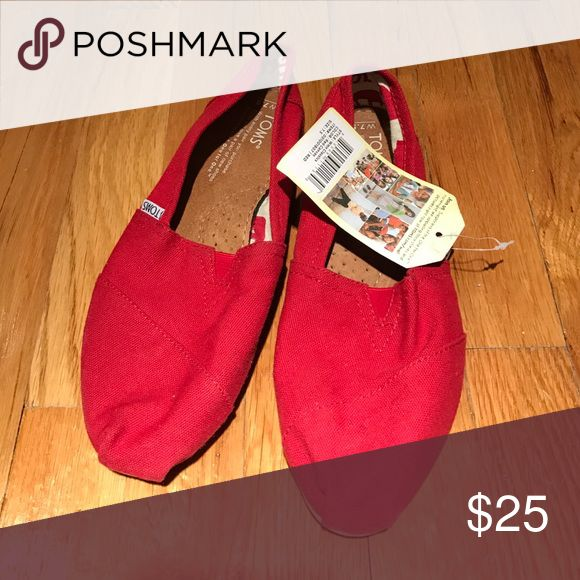 Never worn before red Toms! Red Toms TOMS Shoes Flats & Loafers