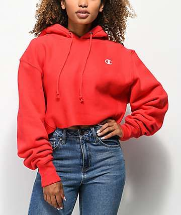1649c67d21 Champion Reverse Weave Red Crop Hoodie in 2019