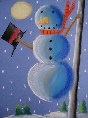 Snowmen at NightPastel Drawing, Night Chalk, Chalk Pastels, Art Ideas, Faith Attempt, Snowman Art, Fun Snowman, Classroom Art, Art Projects