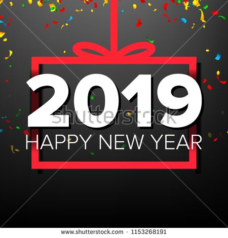 2019 happy new year background vector sign 2019 modern christmas brochure seasonal flyer black red illustration