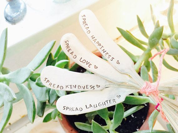 Stamped Butter Knives, Butter Knives, Hand Stamped Knives, Silver Knife Set, Spread Love, Cheese Knives, Cheese Spreader, Stamped Knife Set
