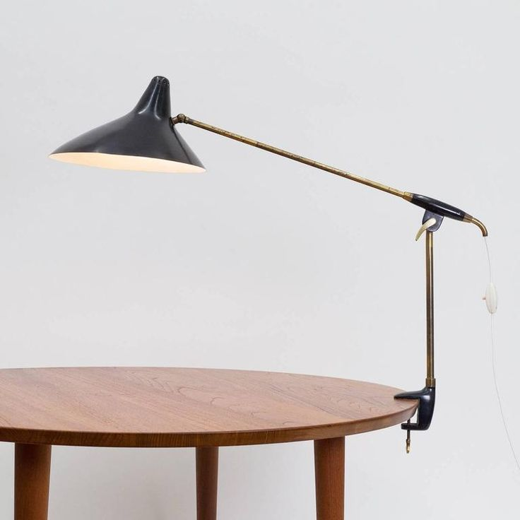 Brass and lacquered clamp lamp 1950s 2