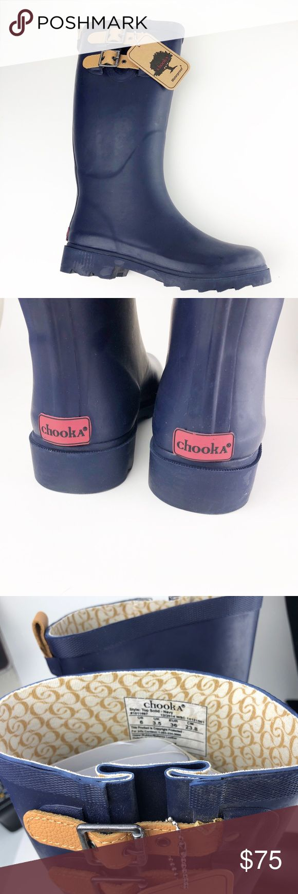CHOOKA Women's Navy Rubber Rain Boots SZ 6 BNIB Brand new in box - women's CHOOKA rain boot. We also currently have the same size in espresso available in our closet. These are ready to ship and come from a non-smoke home! Chooka Shoes Winter & Rain Boots