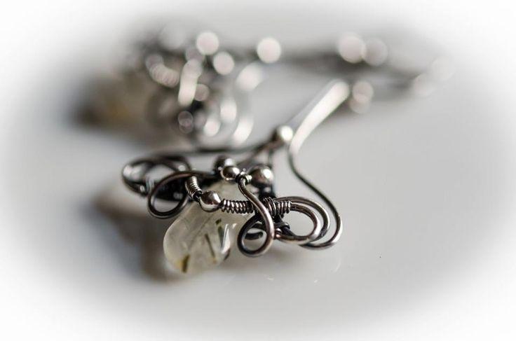 rutil quartz silver earring wire wrapped silver earring