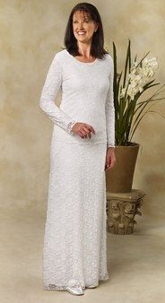 White Stretch lace top and skirt. - White Elegance - Makers of LDS Temple Clothes, Temple Dresses, Pioneer Costumes and more