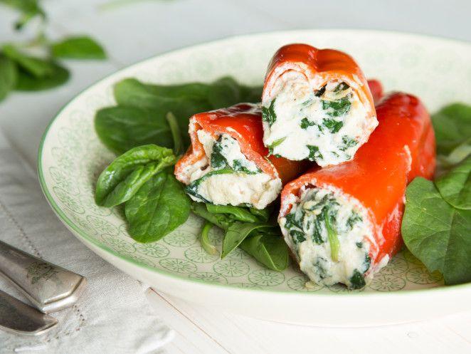 Gefüllte Paprika mit Ricotta, Speck und Spinat
