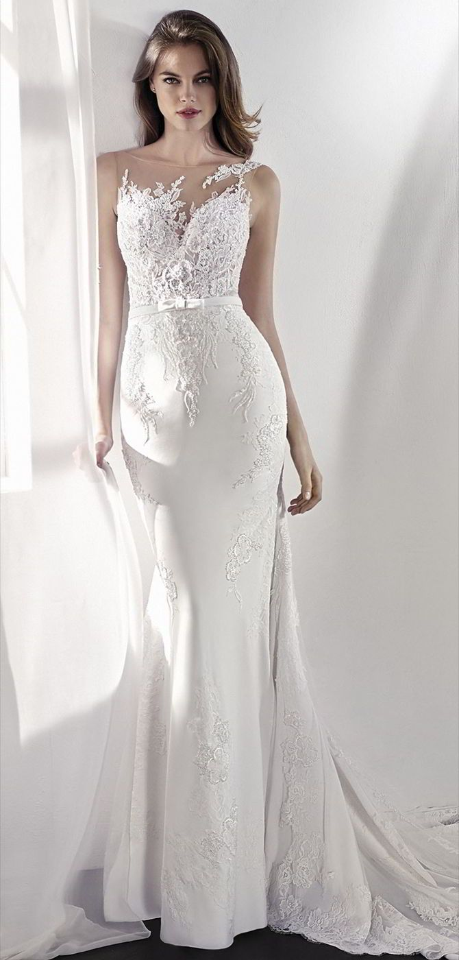 San Patrick 2018 Romantic low waist mermaid wedding dress