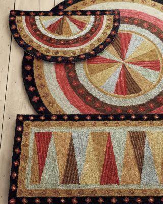 Pinwheel Hooked Wool Rug! Round One.