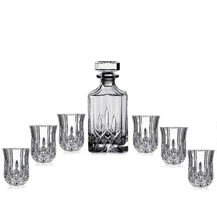 Crystal Whiskey Decanter Dinner Liquor Glass Barware Etched Set.This Elegant attractive lead-free Crystal Whiskey Decanter Dinner Liquor Glass Barware Etched Set, handcrafted in Europe, captures the essence of a traditional round bottle, with a narrow neck and a round stopper. Matching lead free, crystal glasses make this the perfect gift set for any occasion.