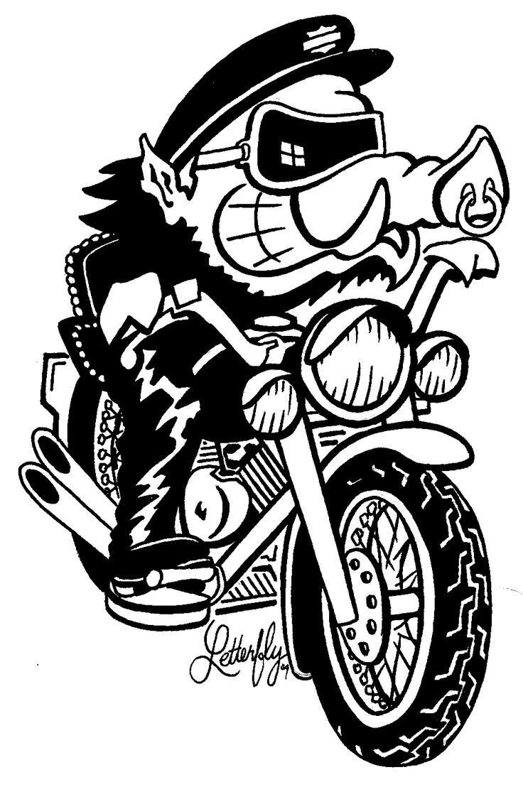 Pin up motorcycle line art jpg - Http Bestclipartblog Com Clipart Pics Harley Clip