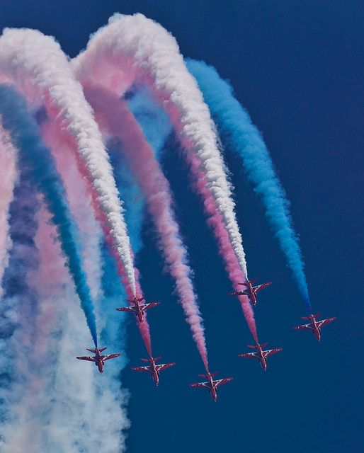 The Red Arrows - based at RAF Scampton. Seen here at the 2013 Waddington airshow