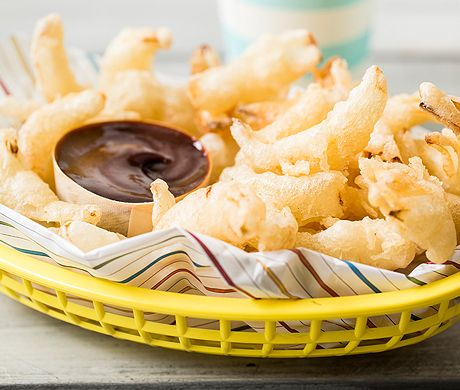 Fried Onion Dippers with Balsamic Ketchup