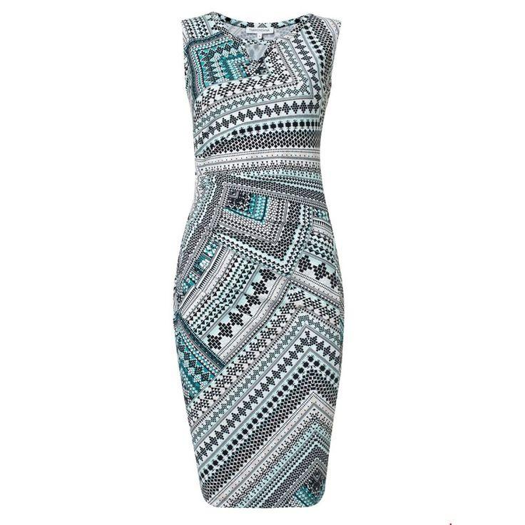 Jurk Souk Punta SL van Tramontana is een stijlvol tribal jurkje met print in mint groen, zwart, wit en roze | Dresses Only