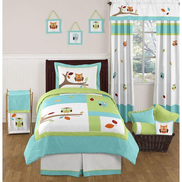 Sweet Jojo Designs Unisex Hooty Owl 4-piece Twin Comforter Set