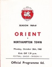 Orient 0 Northampton Town 0 in Nov 1968 at Brisbane Road. The programme cover #Div3