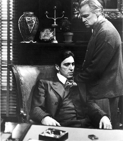 The Godfather is a 1972 crime film directed by Francis Ford Coppola. Based on Mario Puzo's 1969 novel of the same name, the film stars Marlon Brando and Al Pacino as the leaders of a powerful New York crime family. The story, spanning the years 1945 to 1955, centers on the ascension of Michael Corleone (Pacino) from reluctant family outsider to ruthless Mafia boss while also chronicling the Corleone family under the patriarch Vito Corleone (Brando).