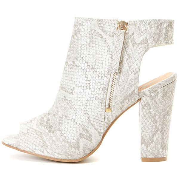 Harper Stone Snake Skin Peep Toe Ankle Boot ($43) ❤ liked on Polyvore featuring shoes, boots, ankle booties, camel, bootie boots, peep toe ankle boots, peeptoe bootie, zip up boots and peep-toe boots