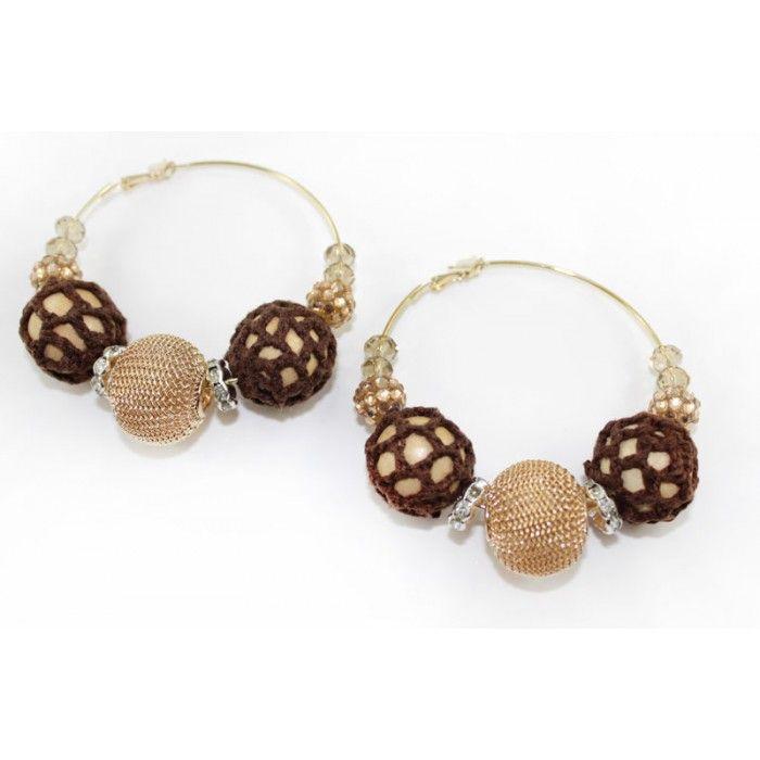 Crochet , Lace, Beads Mega Hoop Earring - Brown http://nyfashionstar.com/handmade/jewelry/earrings/crochet-lace-beads-mega-hoop-earring-brown.html