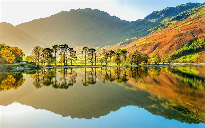 Download wallpapers Buttermere Lake, 4k, Buttermere Valley, english landmarks, Cumbria, England, UK