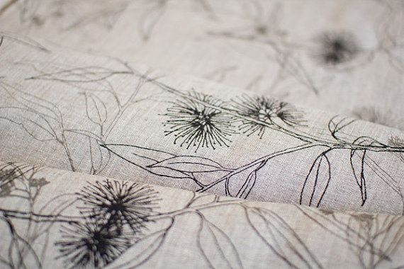 Hand Screen Printed Fabric by Ink and Spindle - Flowing Gum in Black and Greylead 140cm x 50cm