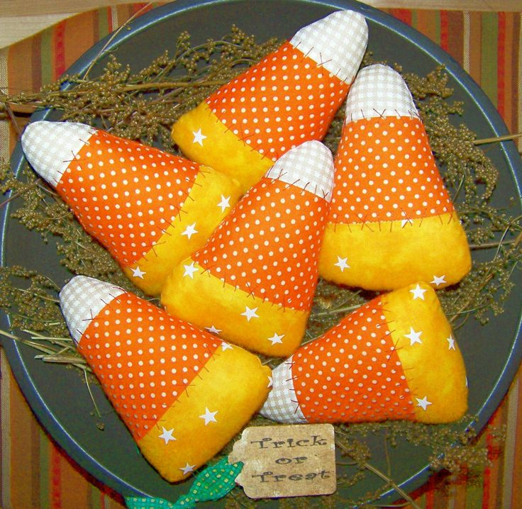 Primitive Halloween Candy Corn Bowl Filler Ornies Pattern 86. $11.95, via Etsy.