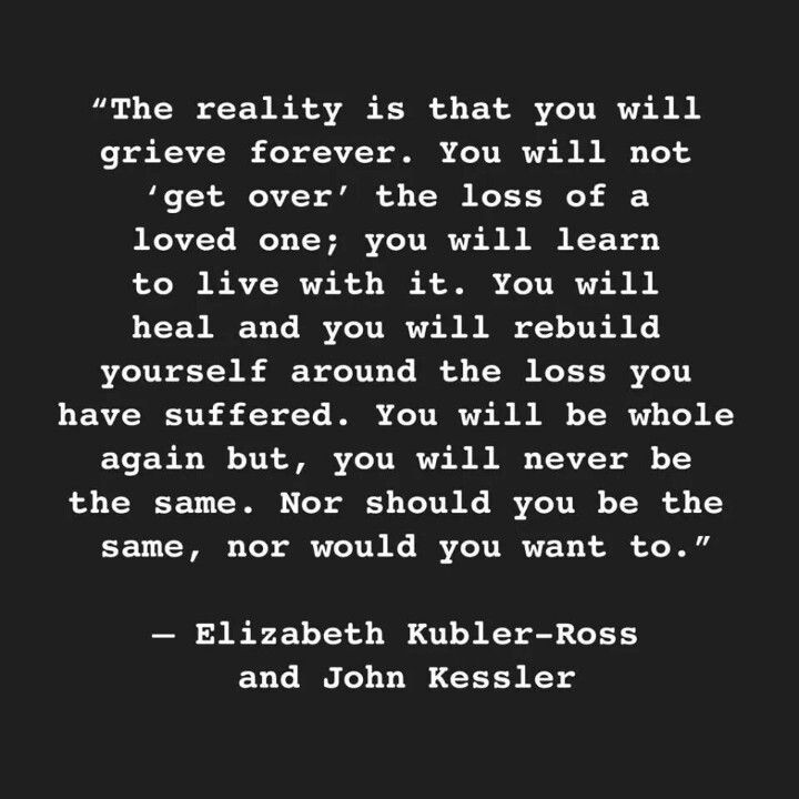 I think this applies not only to losing a loved one to death but also the lose of a relationship. I feel this quite deeply.