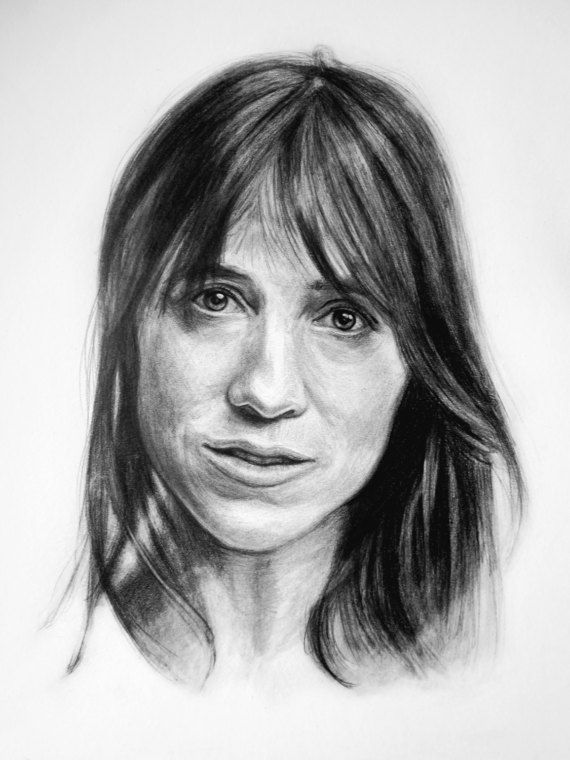 Charlotte Gainsbourg pencil portrait, fan art, custom portraits