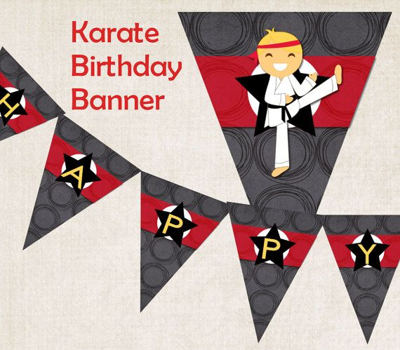 Karate Birthday Party Banner Happy by missbellaexpressions on Etsy,