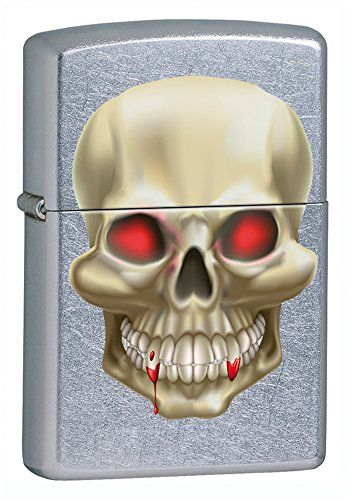Product Features Windproof Refillable with Zippo fluid Reliable flint ignition system Life warranty Supplied in an eco-friendly gift box Buy from Amazon UK Please follow and like us: Zippo 2.004.501.1 Cigarette Lighter, Zippo Logo with Skulls with Replacement Wick 2015 Collection, Satin Finish