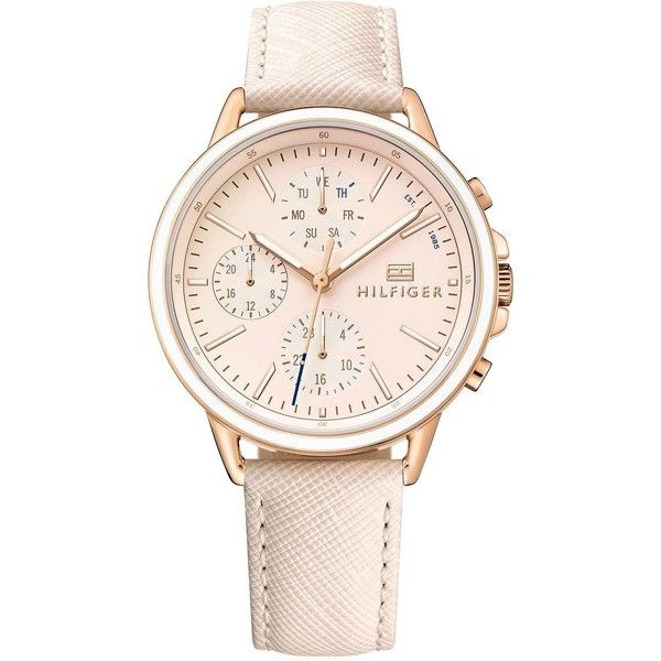 Tommy Hilfiger Carly Blush Mutli Dial Blush Leather Strap Ladies Watch ($245) ❤ liked on Polyvore featuring jewelry, watches, buckle jewelry, tommy hilfiger jewelry, buckle watches, tommy hilfiger watches and dial watches
