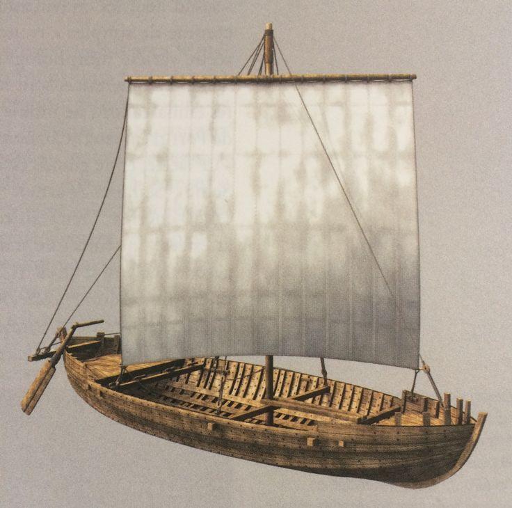 Restitution du caboteur de Port Berteau II (Charentes, découvert en 1975, fouilles 1995), 6e-7e s. : les bois ont été datés par dendrochronologie de 599.