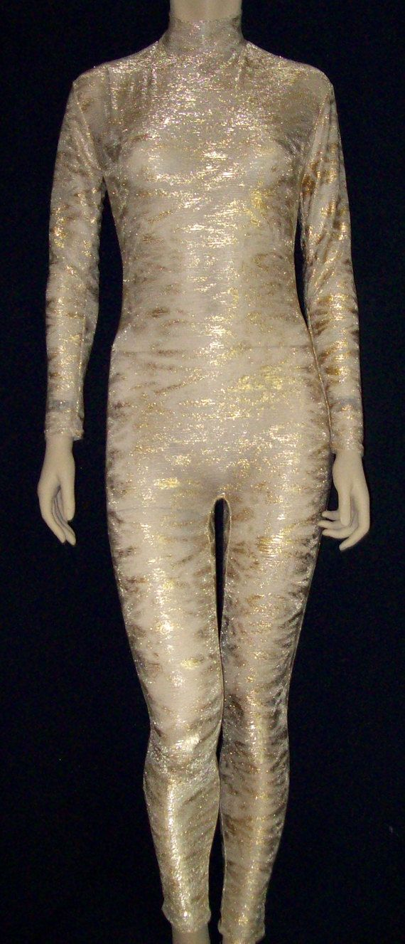Sheer Nude Mesh with Gold Glitter Unitard Catsuit Bodysuit ...