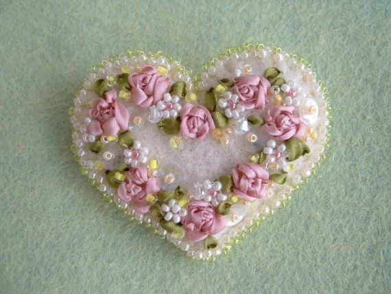 Felt Heart Pin / Silk Embroidery Heart Brooch by Beedeebabee, $19.00