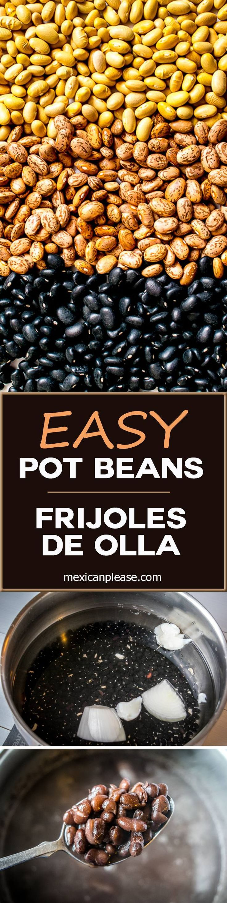 It's surprising how easy it is to make a batch of authentic Mexican pot beans.  These Frijoles de Olla not only taste better than storebought beans, they're also very kind to your wallet!  http://mexicanplease.com