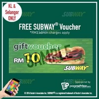 15 Feb-31 Mar 2016: Subway Malaysia Voucher Giveaway