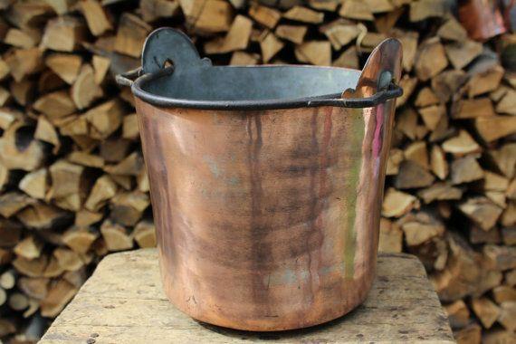 Secchio vaso porta vaso in rame antico lavorato a di LaCasadelRame